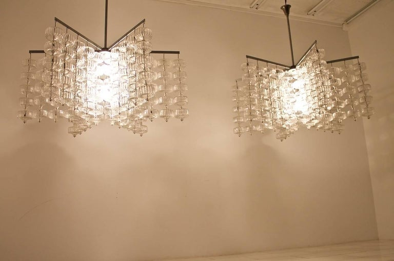 Huge Glass and Steel Chandelier by Alois Gangkofner Germany 1965 3