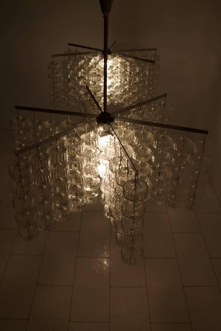 Huge Glass and Steel Chandelier by Alois Gangkofner Germany 1965 10