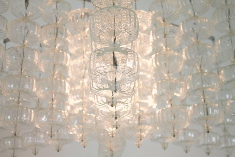 Huge Glass and Steel Chandelier by Alois Gangkofner Germany 1965 7