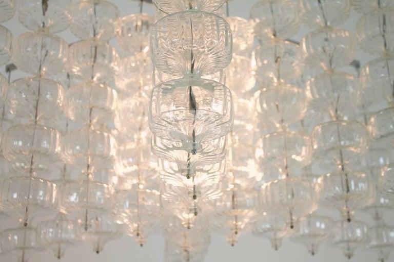 Großer Alois Gangkofner Glas und Stahl Kronleuchter, Deutschland 1965 7