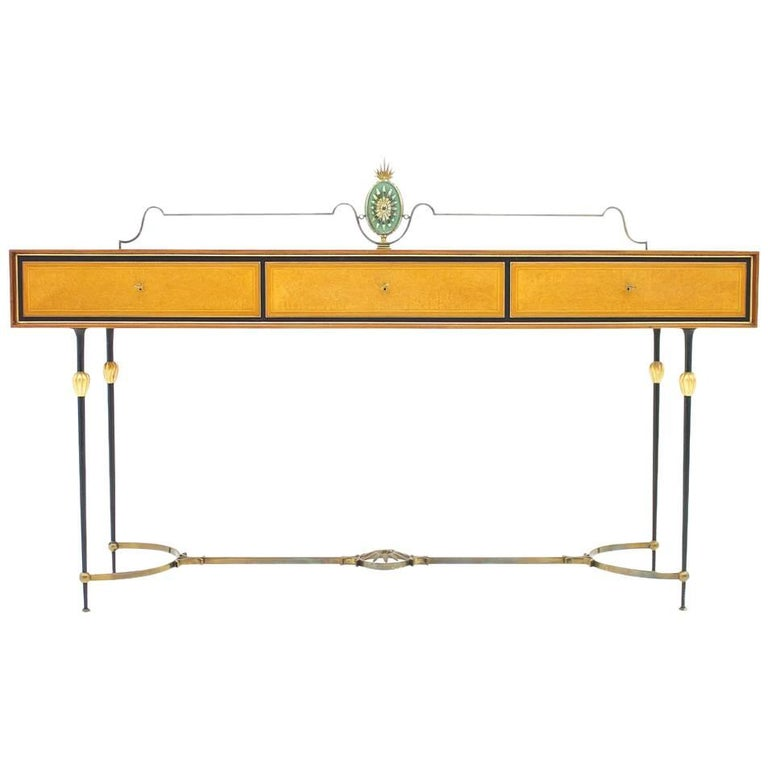 Beautiful Console Table, Sideboard with Brass and Mirror by Hans Wauer, Germany
