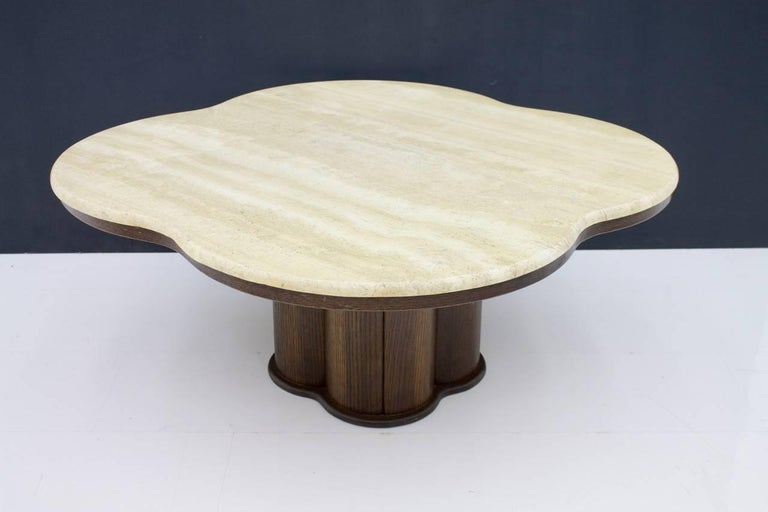 Late 20th Century Travertine Cloud Coffee Table with Wood Base, 1970s For Sale