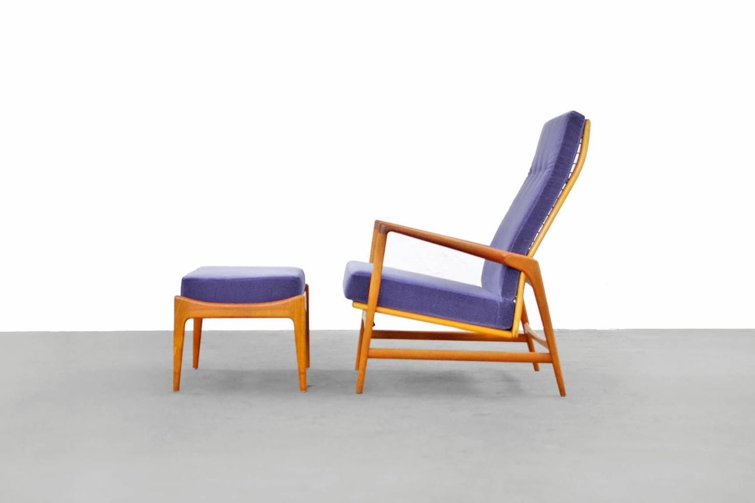 Danish modern reclining lounge chair and ottoman by ib kofod larsen selig teak for sale at 1stdibs - Selig z chair for sale ...