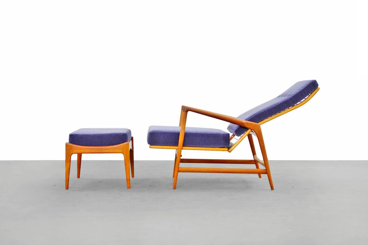 Danish Modern Reclining Lounge Chair and Ottoman by Ib Kofod Larsen Selig Te