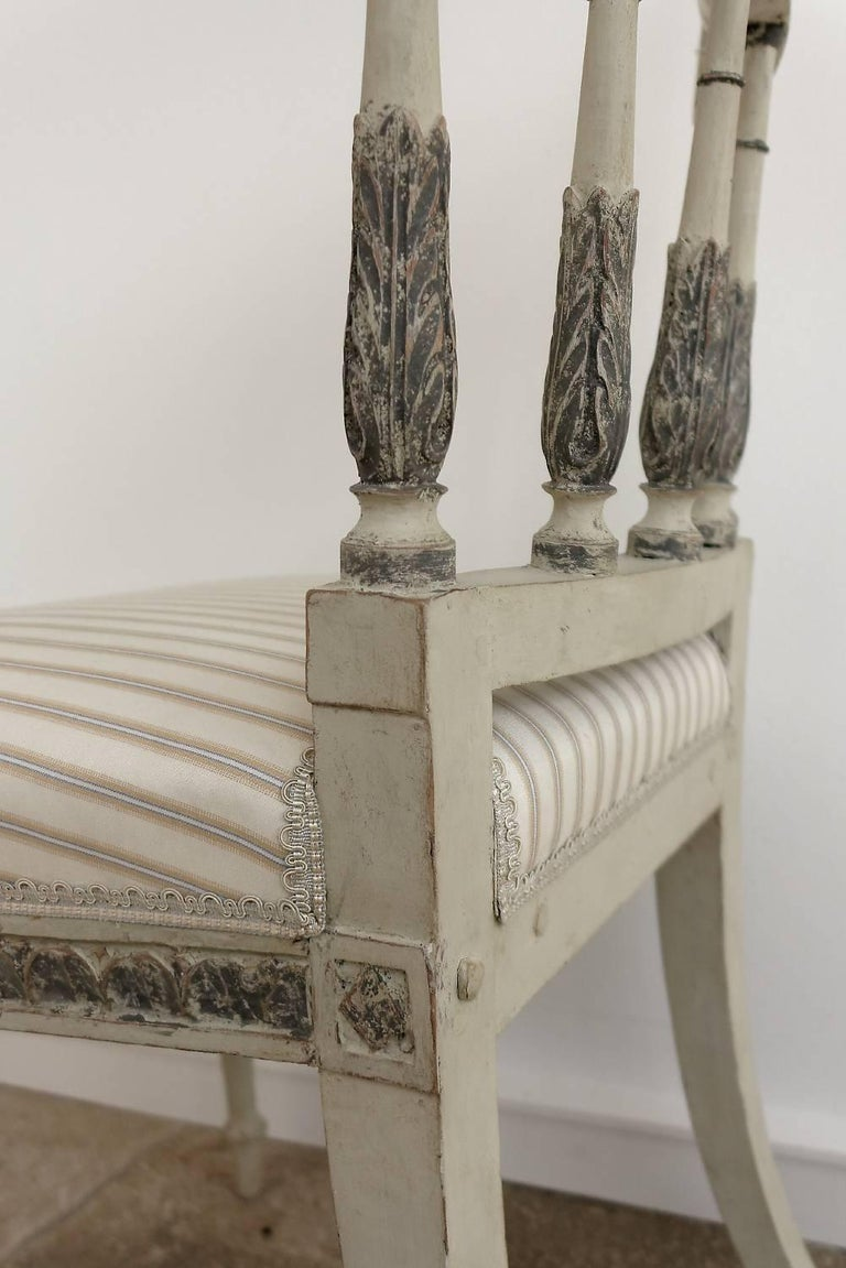 Set of Six Late 18th Century Swedish Gustavian Painted Dining Chairs For Sale 3