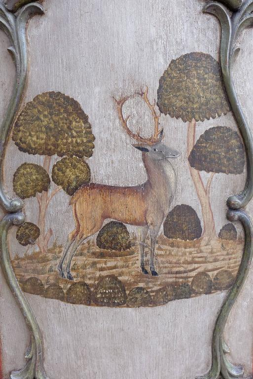 Pair of German 18th Century Baroque Painted Doors Hunting Deer Stag In Good Condition For Sale In Worpswede / Bremen, DE