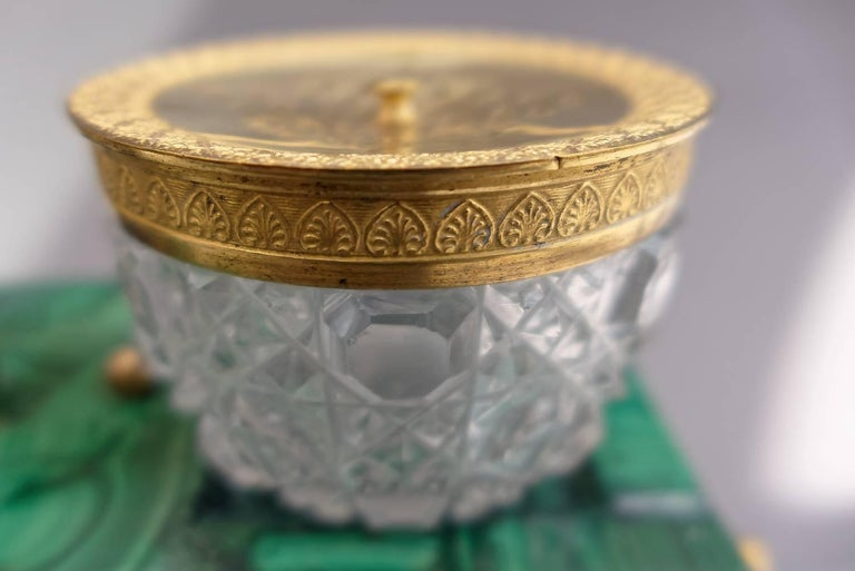 Gilt Early 19th Century Russian Empire Malachite and Ormolu Inkstand Encrier Swans For Sale