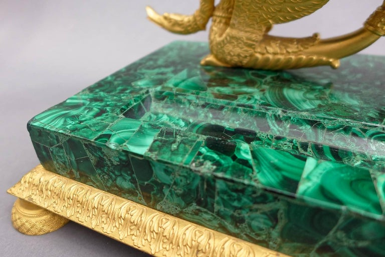 Cut Glass Early 19th Century Russian Empire Malachite and Ormolu Inkstand Encrier Swans For Sale