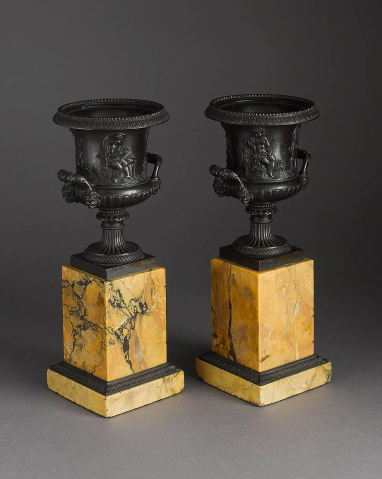 Pair of Early 19th Century French Neoclassical Bronze Urn on Marble Pedestal 2