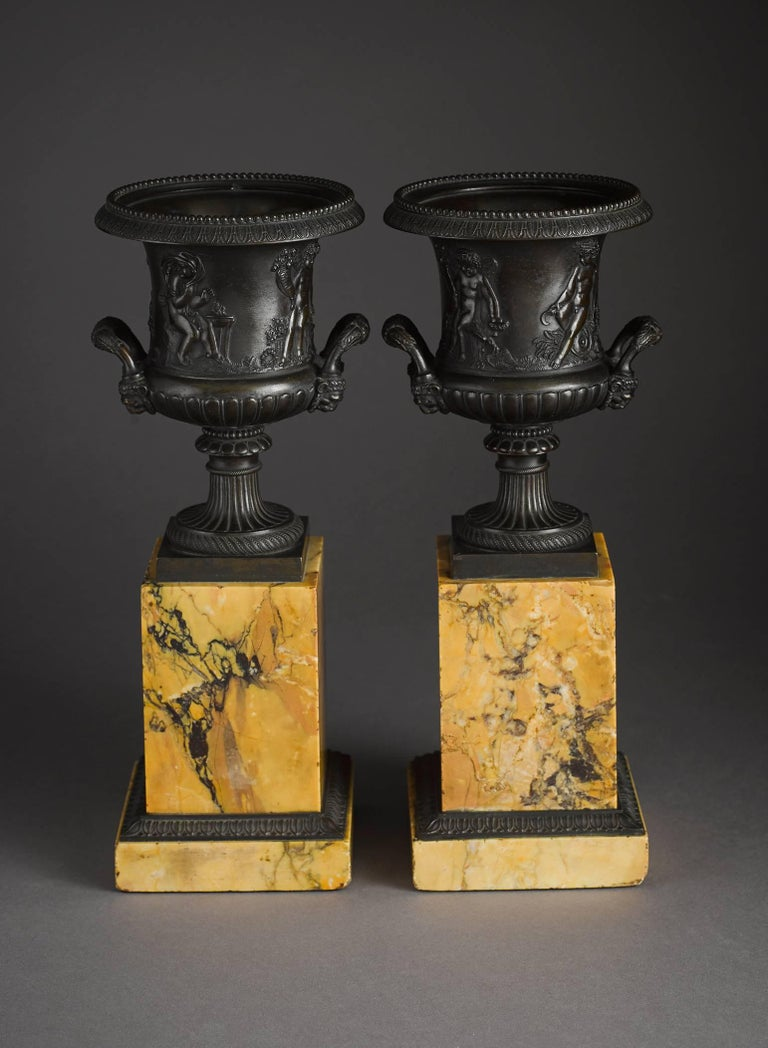 Pair of Early 19th Century French Neoclassical Bronze Urn on Marble Pedestal 3