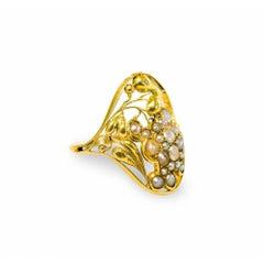 Unique Gold and Freshwater Pearl Ring Josef Hoffmann Wiener Werkstätte, 1912