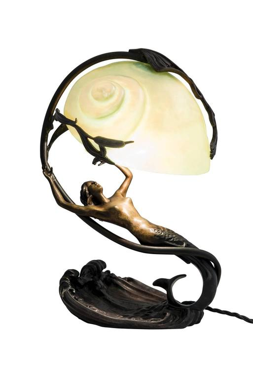 Lamp Gustav Gurschner Attributed Symbolistic Bronze With
