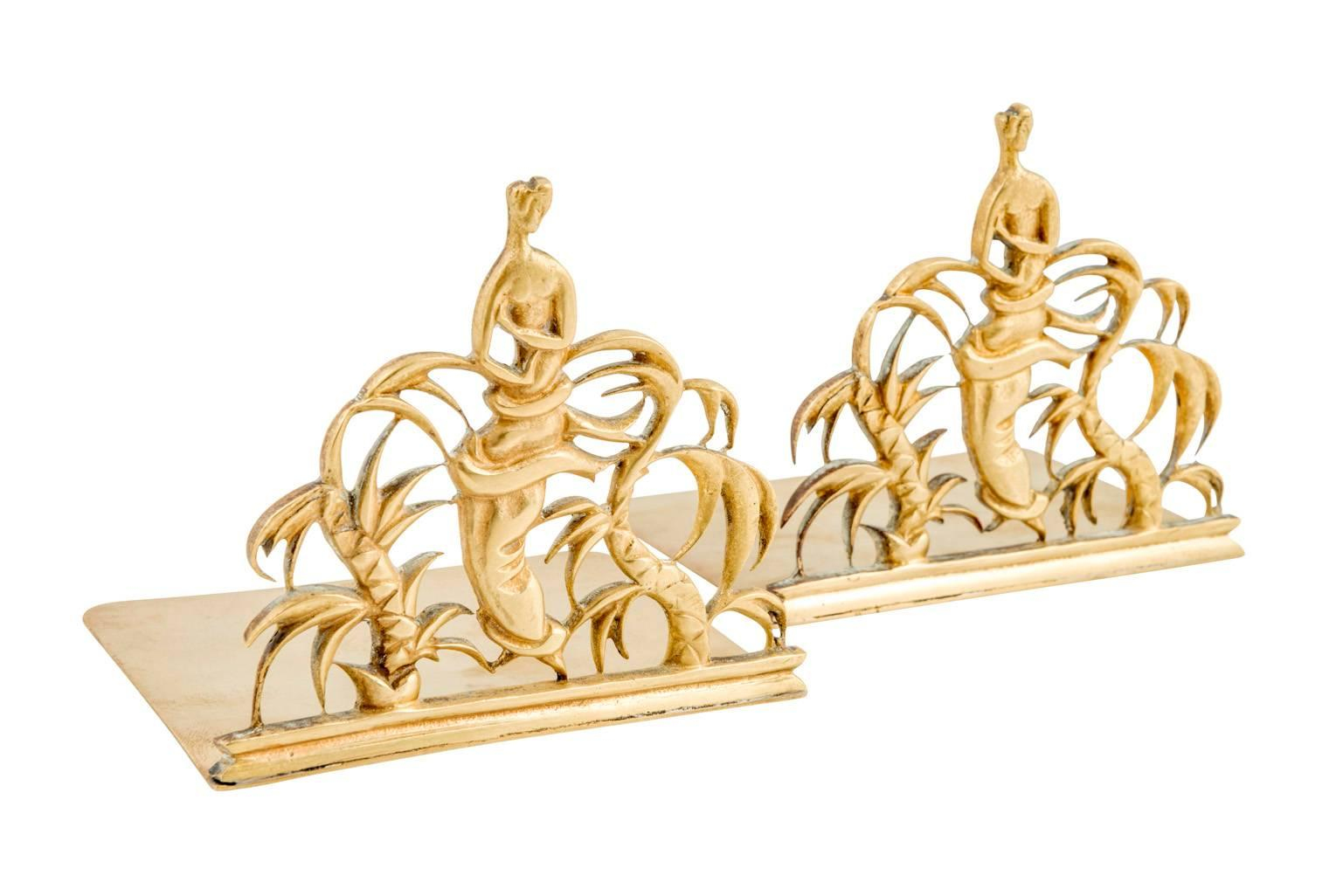 268669f508 Two Bookends Werkstatte Hagenauer Wien Designed by Karl Hagenauer Brass For  Sale at 1stdibs