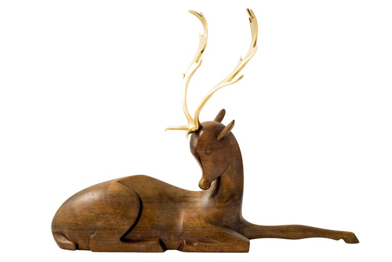 Depictures of animals were a popular motive throughout the activity of the Werkstatte Hagenauer. This fallow deer was designed, circa 1950 and bribes the viewer with a sublime, elegant and powerful portrayal. It is executed in a high quality and the