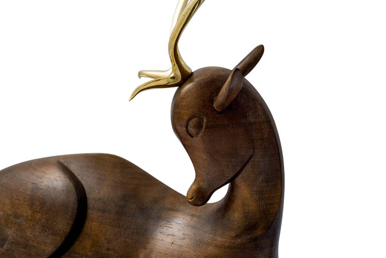 Patinated Werkstatte Hagenauer Fallow Deer Brass and Wood Figurine, circa 1930 For Sale