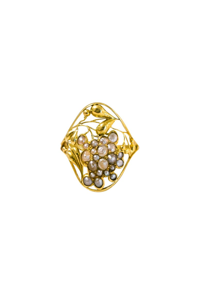 Unique Gold And Freshwater Pearl Ring Josef Hoffmann