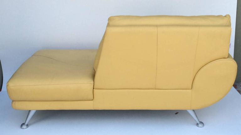 Postmodern Yellow Leather Chaise Longue By Italian Company Nicoletti Salotti