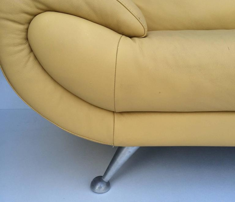 Italian Nicoletti Leather Chaise Lounge