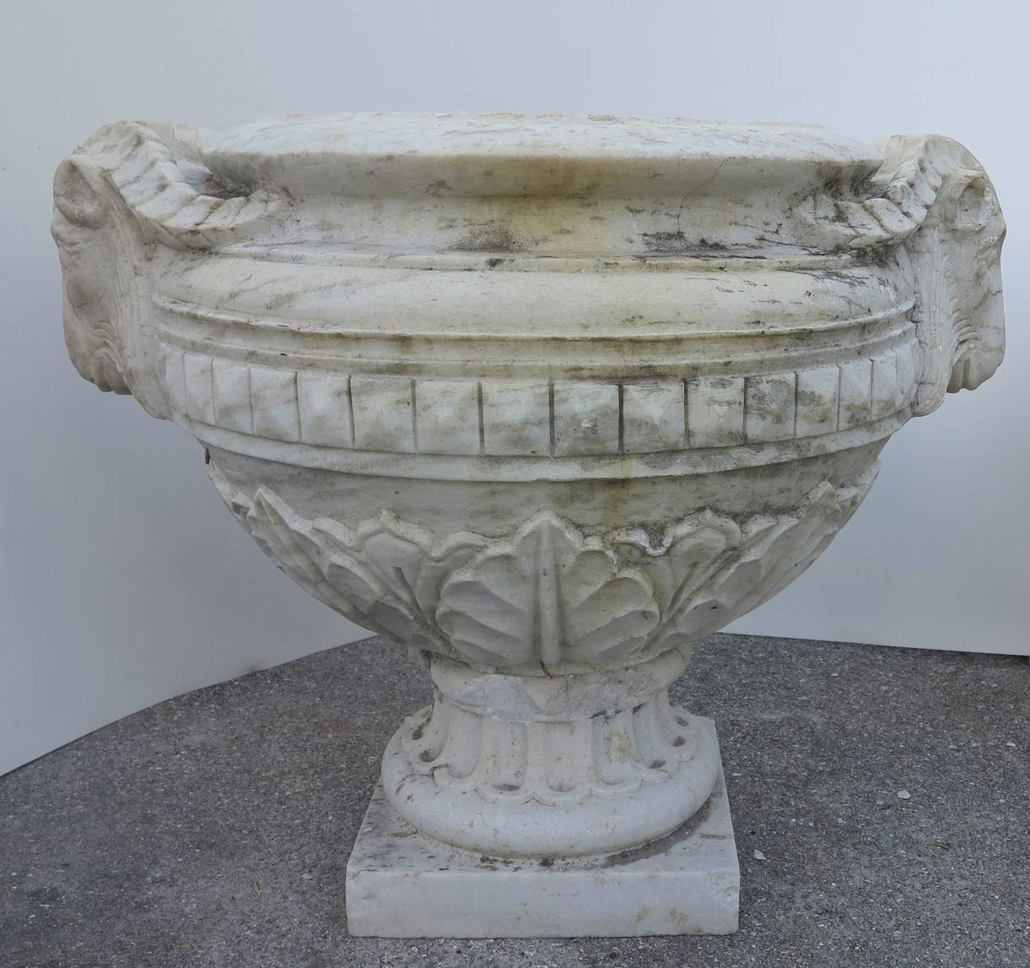 19th Century Large Carved Marble Ram Head Urns Planters