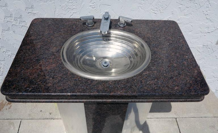 Vintage Sherle Wagner Vanity Sink Black Granite Top With
