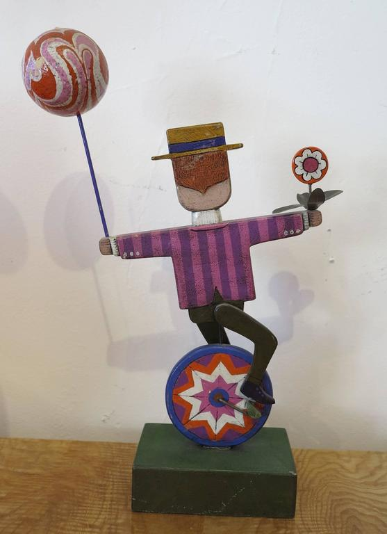 Folk art table sculpture by Gompers Saijo number 1 in an edition of 45. Saijo's works were sold at Gumps of San Francisco. This edition is made of papier mâché.