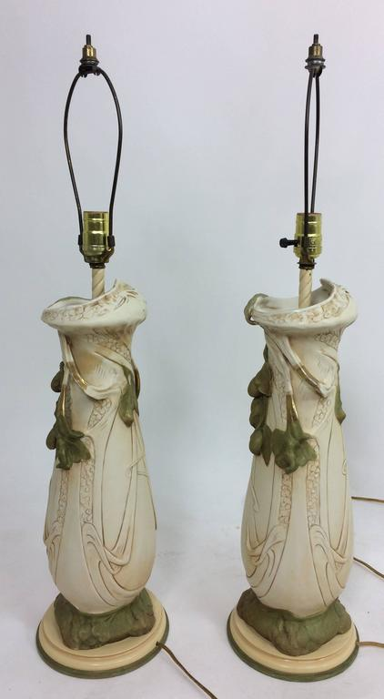Austrian Vintage Royal Dux Porcelain Table Lamps Art Nouveau Bohemia For Sale