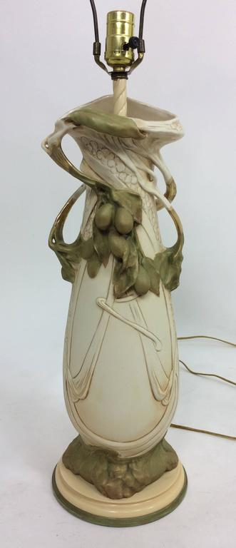 20th Century Vintage Royal Dux Porcelain Table Lamps Art Nouveau Bohemia For Sale