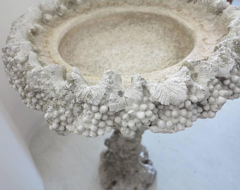 Ornate Vintage Cast Cement Bird Bath Grape Leaves For Sale
