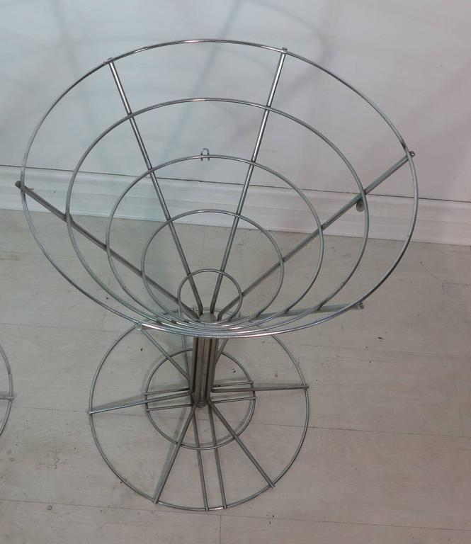 Op Art Chrome Wire Side Tables Glass Tops For Sale At 1stdibs