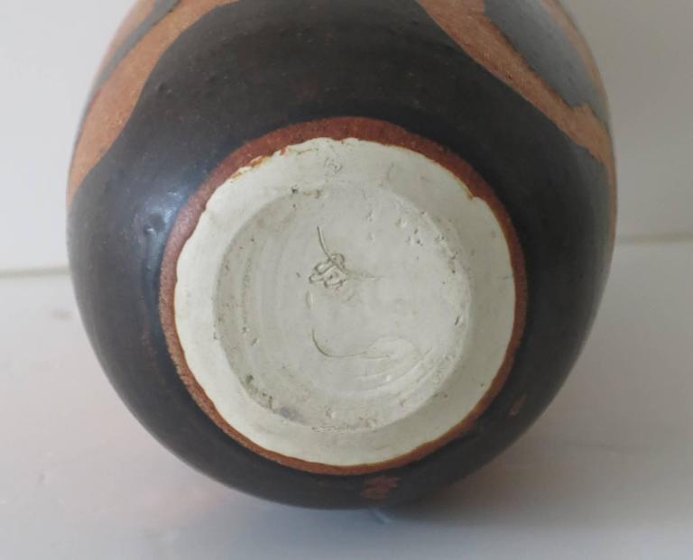 Modern Studio Art Pottery Vase Incised Sgraffito Signed For Sale