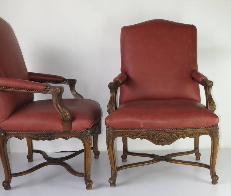 Vintage Embossed Red Louis Xiv Style Arm Chairs 2