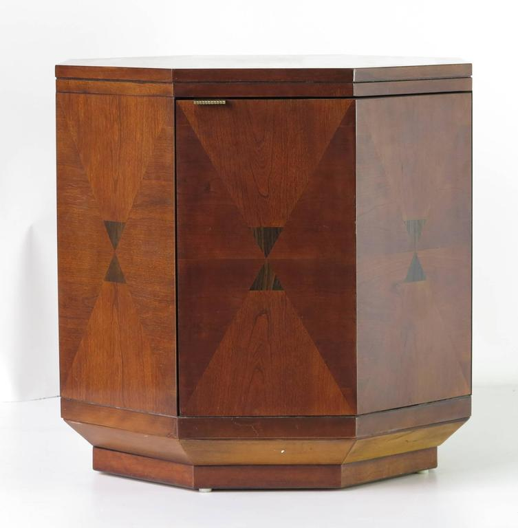 Vintage Henredon inlaid wood Octagon Cabinet with Interior Shelf