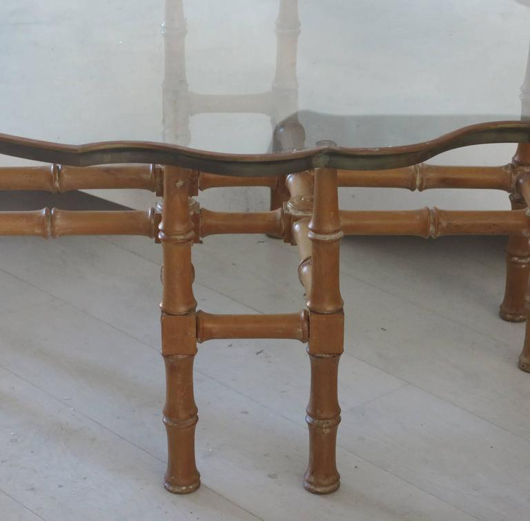 Vintage Faux Bamboo Coffee Table With Ornate Brass And Glass Top For Sale At 1stdibs