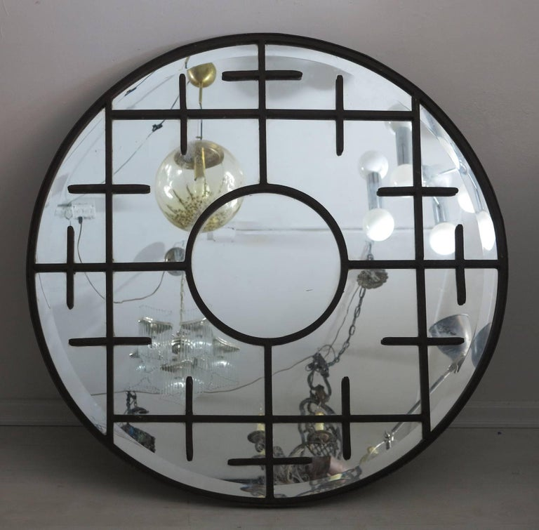 Vintage Round Wall Mirror Forged Wrought Iron Decoration