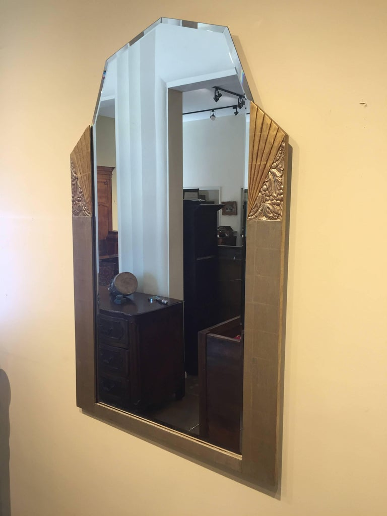 Superb, elegant uniquely bevelled Art Deco mirror.