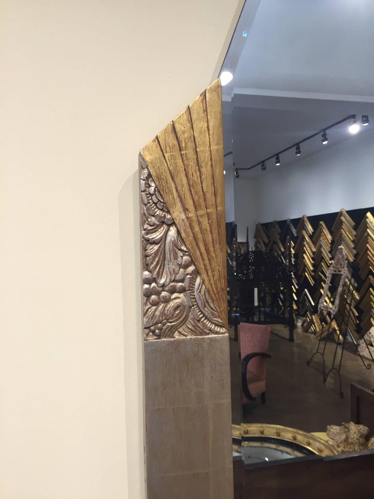 French Vintage Gilded Art Deco Mirror For Sale