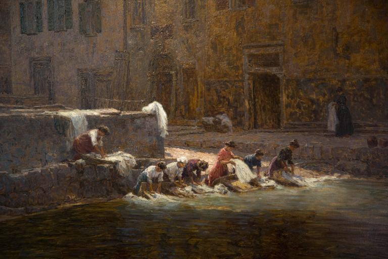 Italian Lavanderas by Anselmo De Guinea Y Ugalde, Oil on Board, 19th Century For Sale