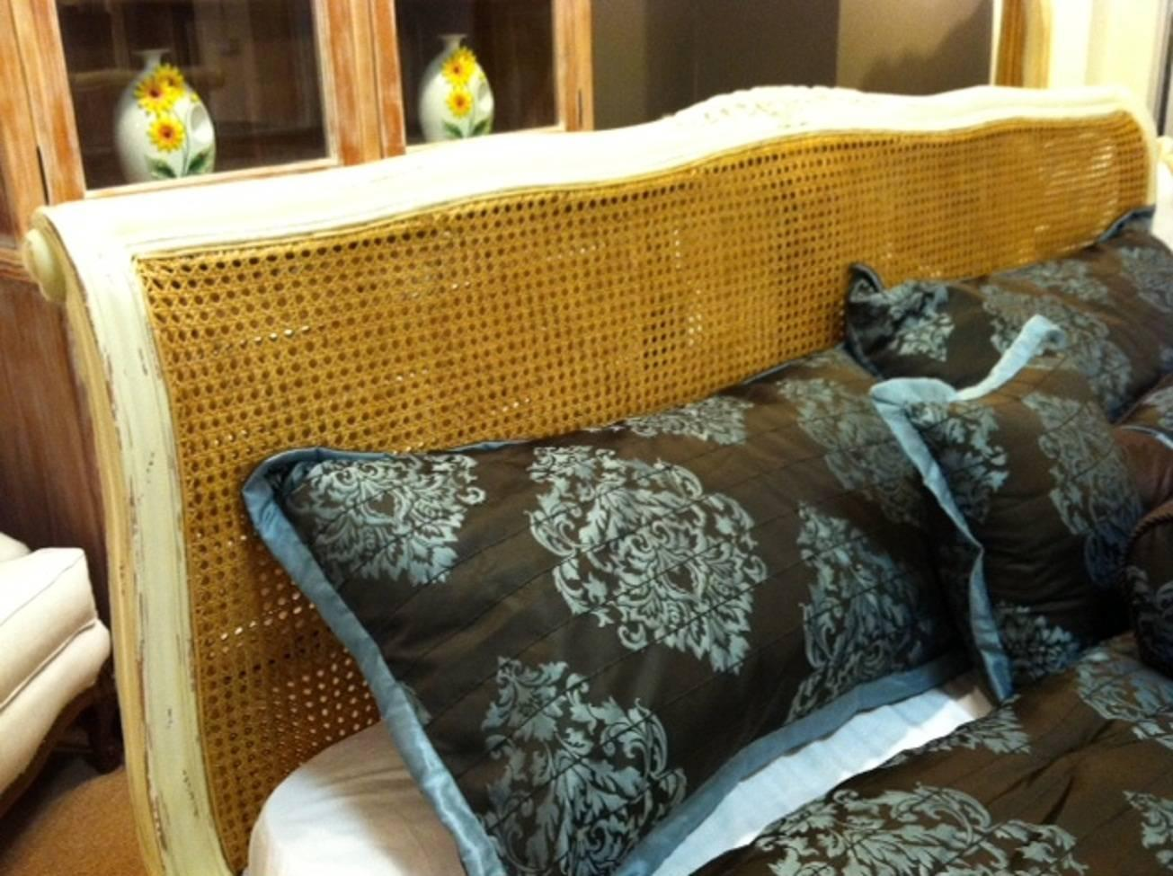 French Bed Natural Cane In Louis Xv Farmhouse Cottage Chic
