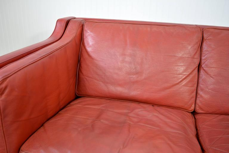 Borge Mogensen Leather Sofa In Good Condition For Sale In Loves Park, IL