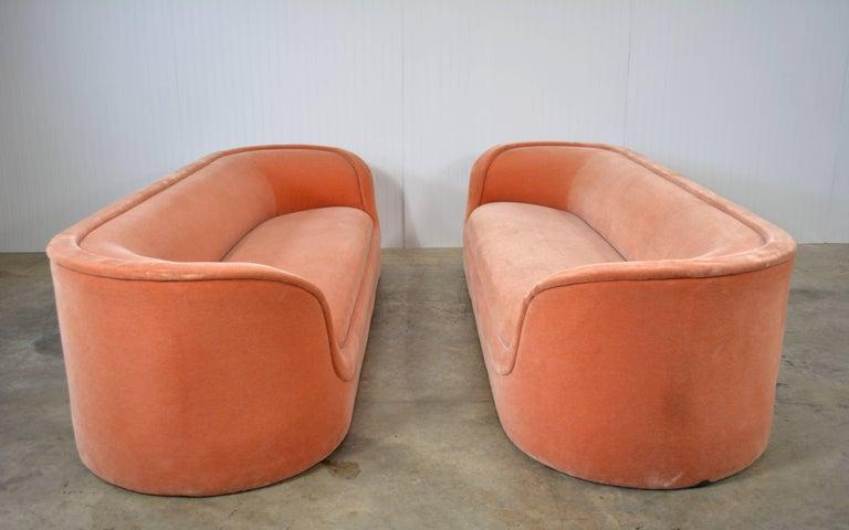 Pair of Ward Bennett Cartouche sofas. Original salmon mohair. Elegant and very desirable design.