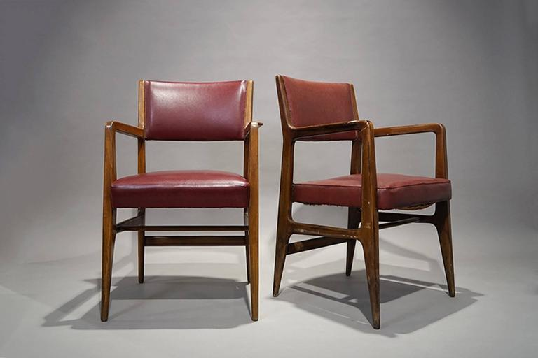 Pair of armchairs by Gio Ponti, Cassina, 1950.  Cover vinyl.