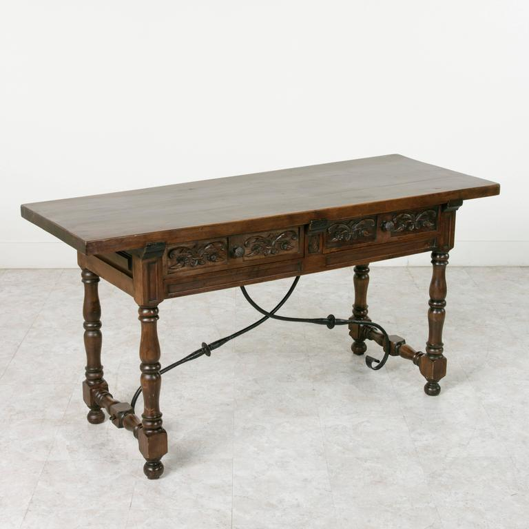 spanish renaissance style console of hand-carved ash with iron