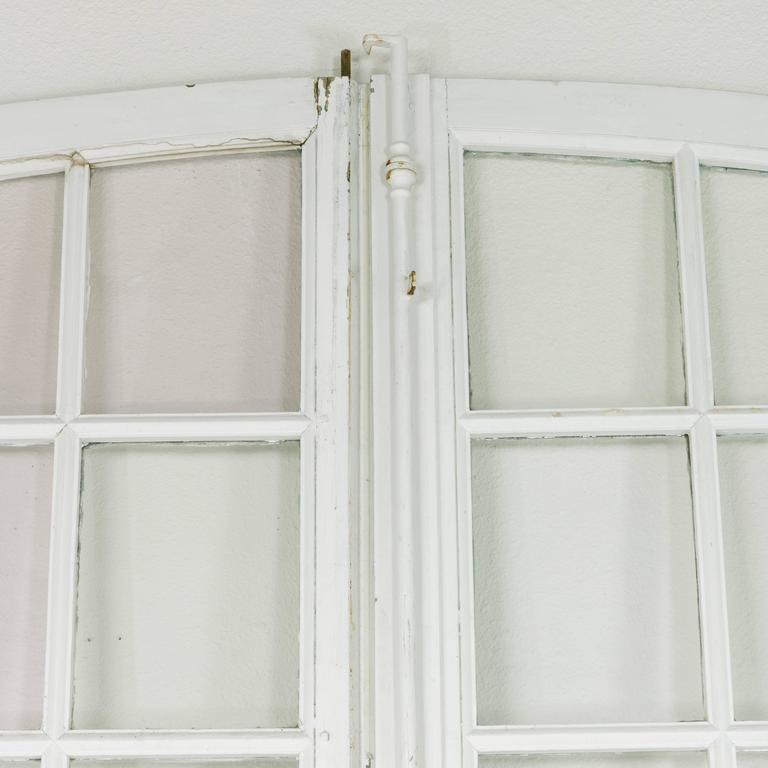 Monumental pair of arched 18th century french chateau doors with blown glass for sale 3