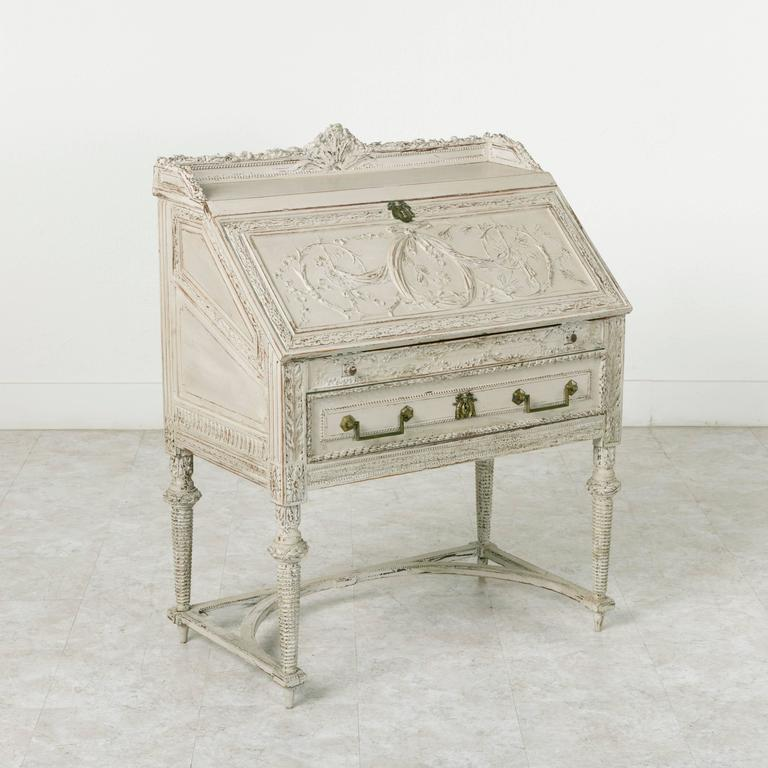 Directoire Period Hand Carved Painted Bureau De Pente Or