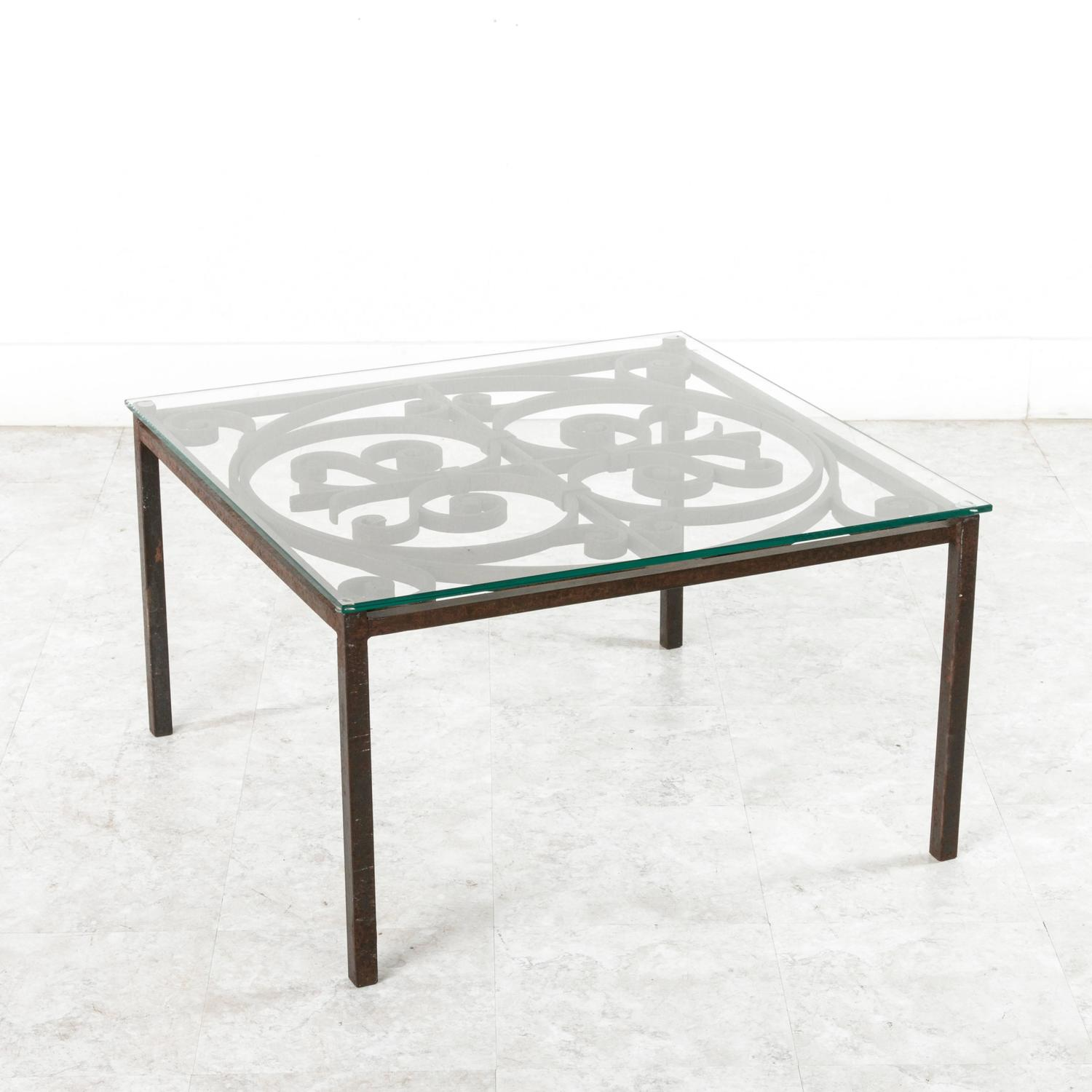 Antique French Hand Forged Iron Coffee Table With Glass