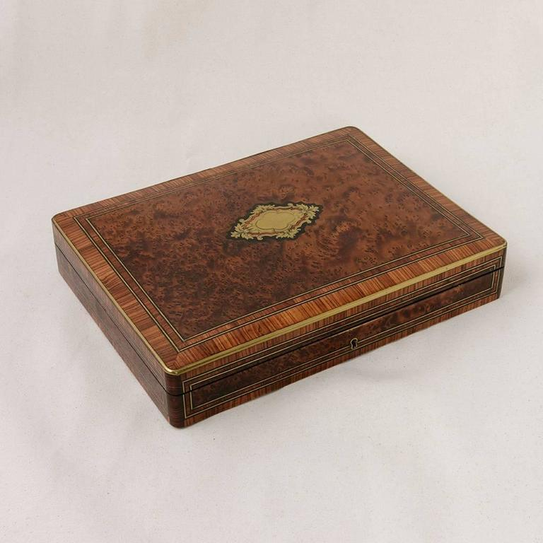 Bronze Rare Signed Paul Sormani Marquetry Game Box with Mother-of-Pearl Gambling Chips  For Sale