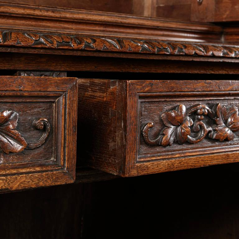 19th Century French Hand Carved Oak Louis Xiii Buffet Deux