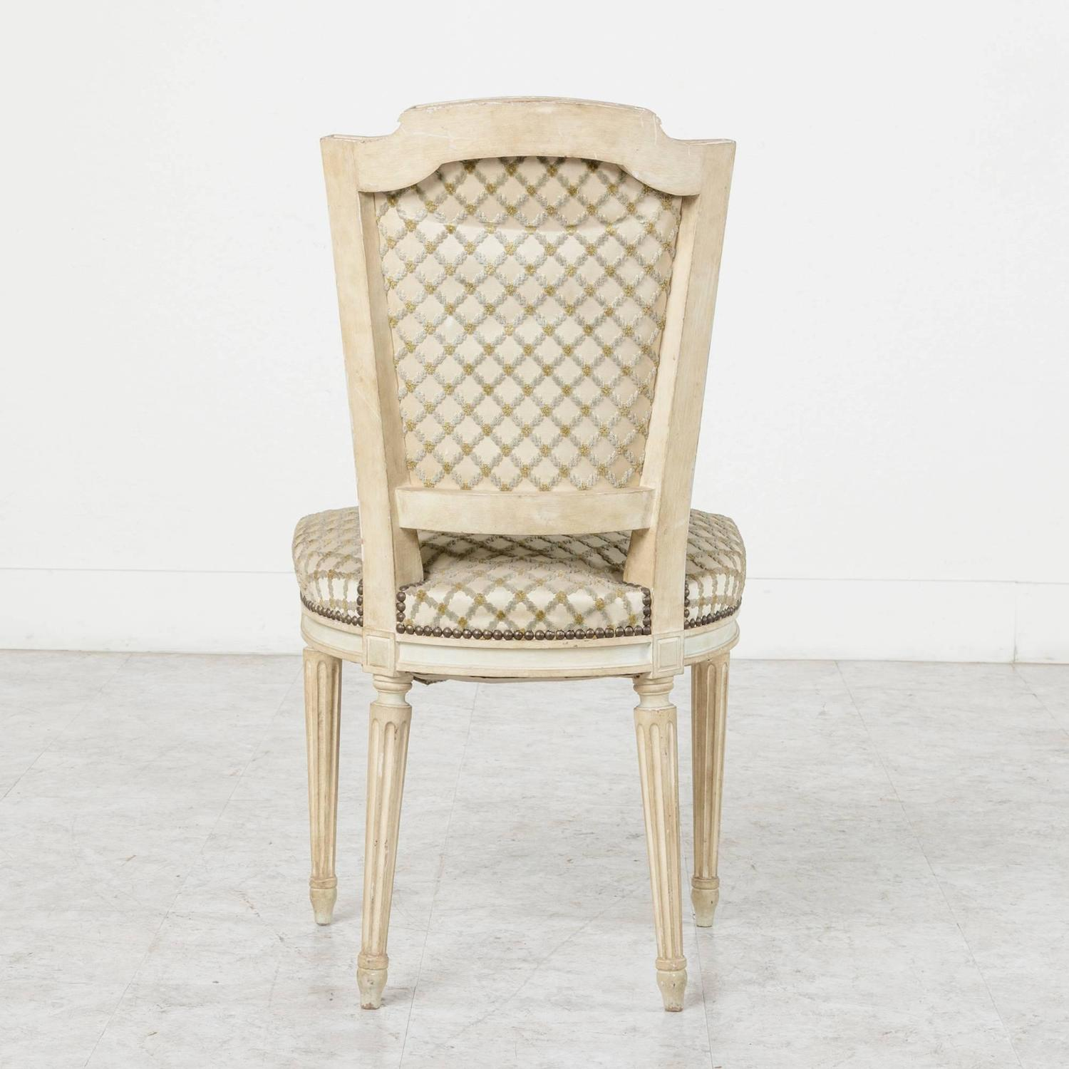 Louis XVI Style French Antiqued White Dining Or Side Chairs For Sale At 1stdibs