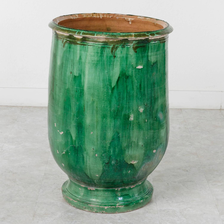 Large Provencal Green Biot Faience Olive Jar Urn Circa 1800 For Sale At 1stdibs