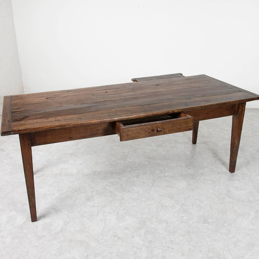 Antique French Hand Pegged Solid Oak Farm Table or Dining Table from Le Perch